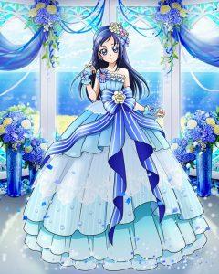 菱川六花エレガントブルーリボンドレス