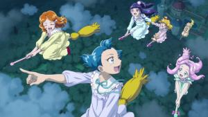 魔法つかいプリキュア41話魔法学校の生徒がほうきで空を飛ぶ